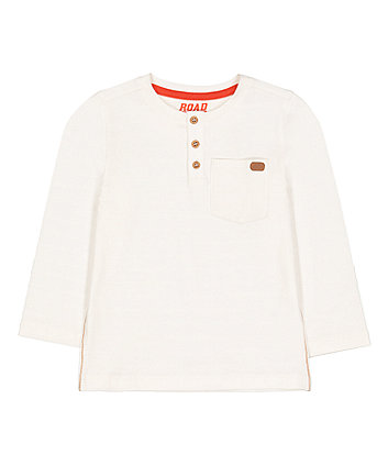 Mothercare White Stripe Grandad T-Shirt