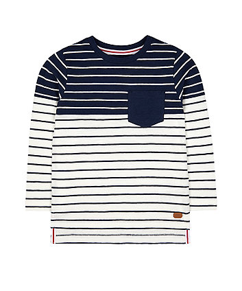 Mothercare White And Blue Stripe T-Shirt