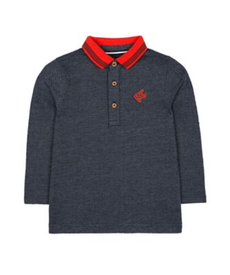 Mothercare Prairie Navy And Orange Polo Long Sleeve T-Shirt