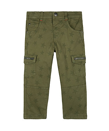 Mothercare Khaki Star Woven Trousers