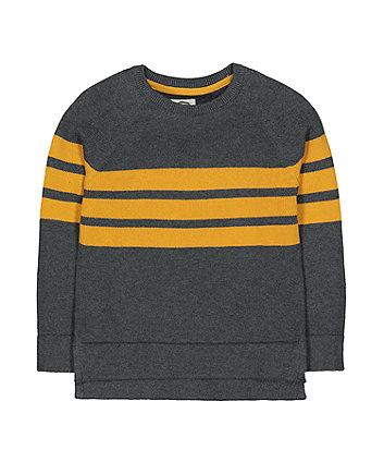 Grey And Mustard Stripe Knit Jumper