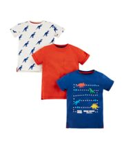 Mothercare Red, White And Blue Dinosaur T-Shirts - 3 Pack