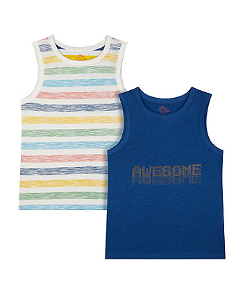 Mothercare Stripe And Navy Awesome Vests - 2 Pack