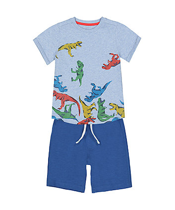 Mothercare Blue T-Rex Dinosaur T-Shirt And Shorts Set