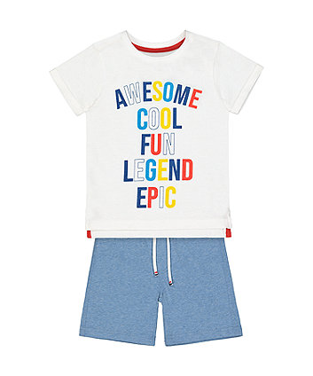 Mothercare White Awesome T-Shirt And Blue Shorts Set