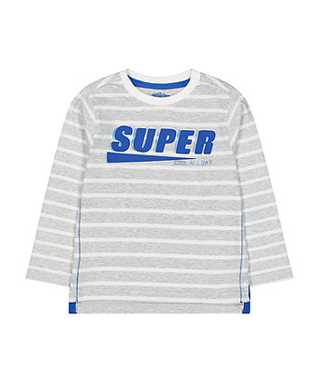 Mothercare Grey Striped Super Cool T-Shirt