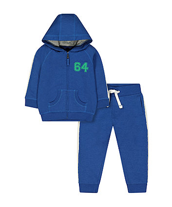 Mothercare Blue 64 Zip-Through Hoodie And Stripe Joggers Set