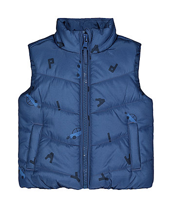Blue Car Fleece-Lined Gilet