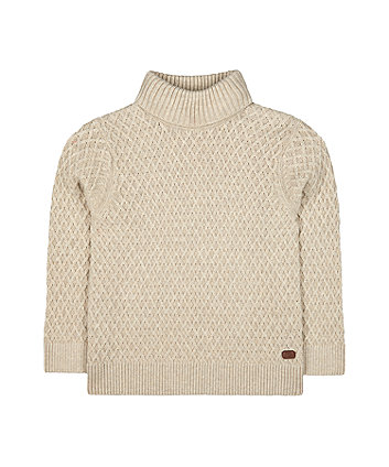 Mothercare Oatmeal Knitted Roll Neck Jumper