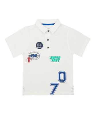 Mothercare Motor Mash Up White Badge Short Sleeve Polo T-Shirt