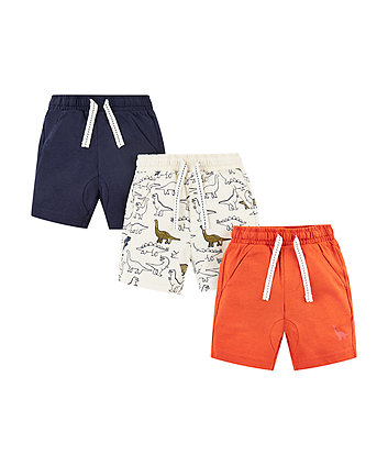 Mothercare Navy, Orange And Dinosaur Shorts - 3 Pack