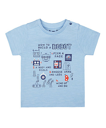 Mothercare Blue How To Build A Robot T-Shirt