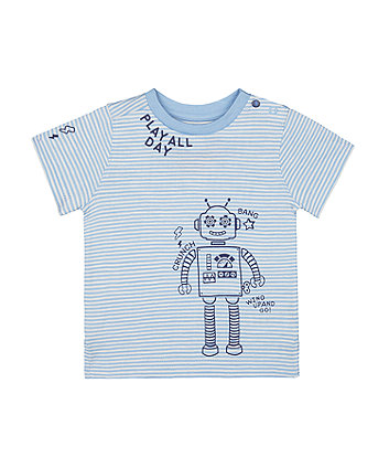 Mothercare Stripe Play All Day Robot T-Shirt