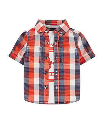 Mothercare Orange Check Shirt And Robot T-Shirt Set