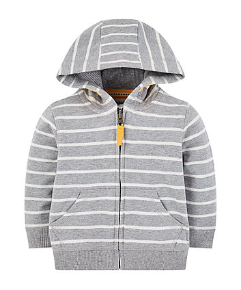 Mothercare Grey Stripe Zip-Through Hoodie