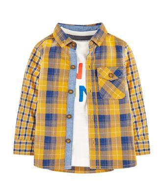 Mothercare Motor Mash Up Yellow Check Shirt And Awesome T-Shirt Set