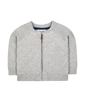 Mothercare Grey Quilted Bomber Cardigan