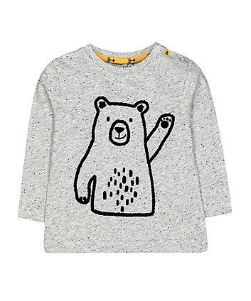 Mothercare Grey Waving Bear T-Shirt