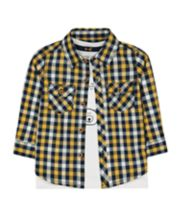 Mothercare Yellow Check Shirt And Animal T-Shirt