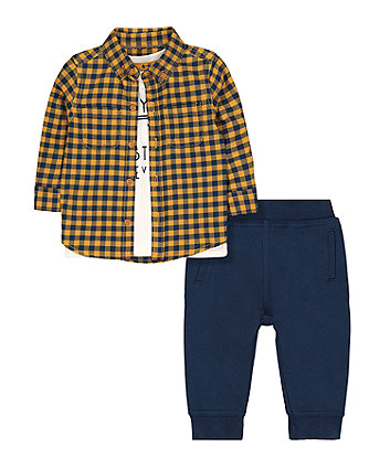 Mothercare Shirt, T-Shirt And Jogger Set