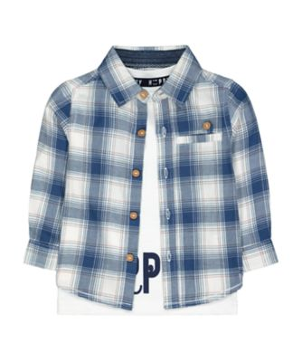 Mothercare Prairie Blue Check Shirt And White Happy Long Sleeve T-Shirt Set