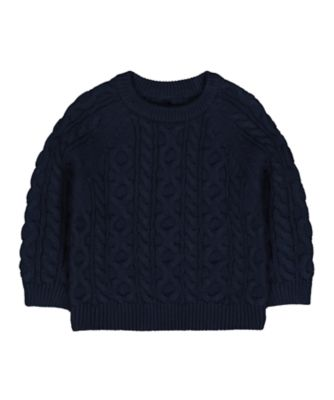 Mothercare Prairie Navy Cable-Knit Jumper