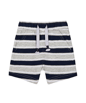Mothercare Navy And Grey Striped Shorts