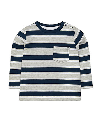 Mothercare Navy And Grey Stripe T-Shirt