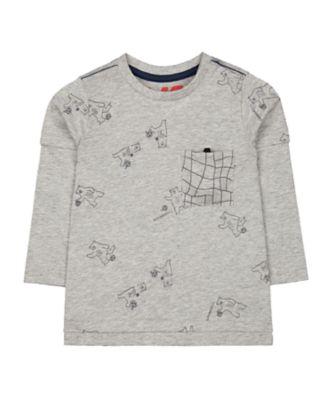 Mothercare MC61 Grey Football Bear Long Sleeve T-Shirt