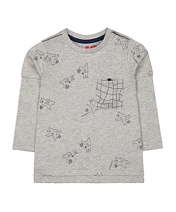 Mothercare Grey Football Bear T-Shirt