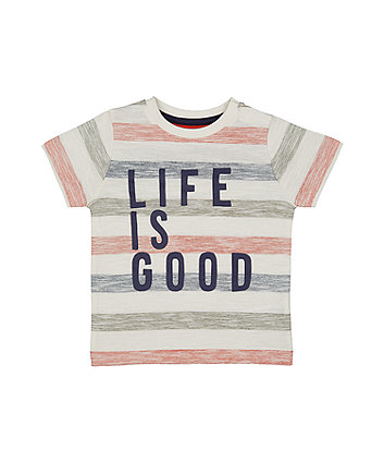 Mothercare Stripe Life Is Good T-Shirt