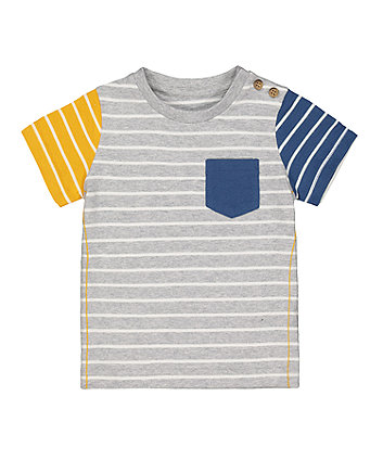Mothercare Grey Stripe Suede T-Shirt