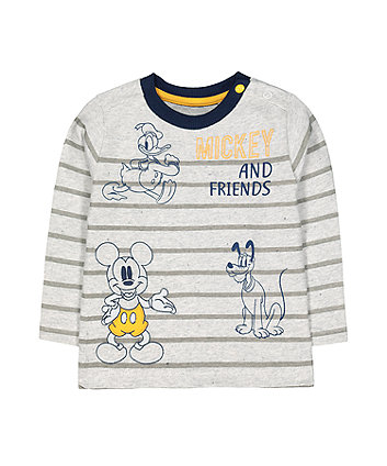 Mothercare Disney Mickey Mouse Friends Grey Stripe T-Shirt