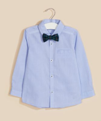 Mothercare Special Collection Blue Long Sleeve Shirt And Bow Tie Set