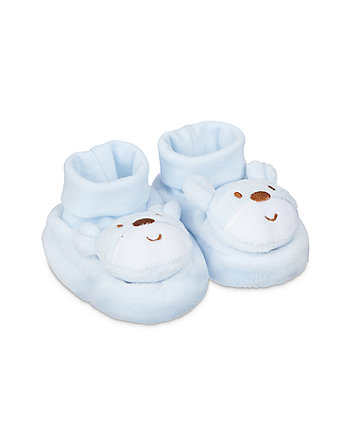 Mothercare Blue Bear Rattle Sock Top Baby Booties