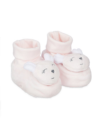 Mothercare Pink Mouse Rattle Sock Top Baby Booties
