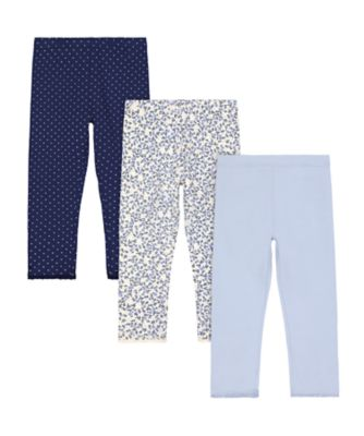 Mothercare Prairie Blue Floral Leggings - 3 Pack