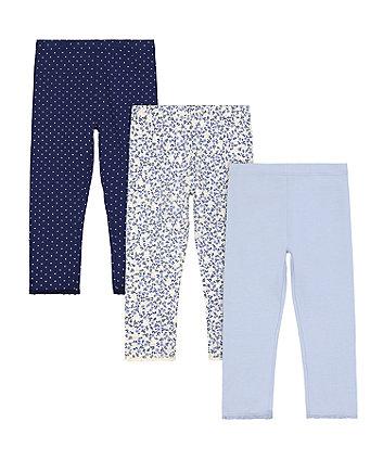 Mothercare Blue Floral Leggings - 3 Pack