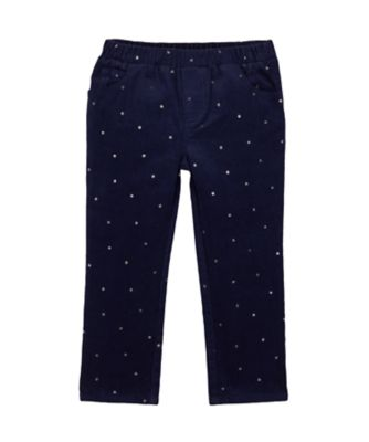 Mothercare Prairie Navy Glitter Print Corduroy Trousers