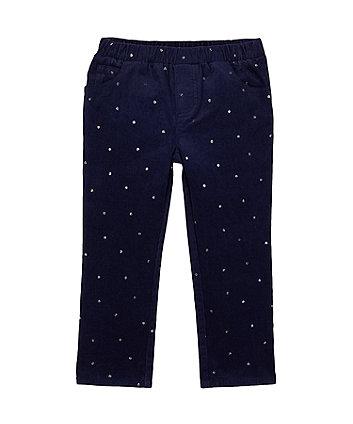 Navy Glitter Print Cord Trousers