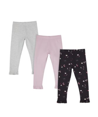 Mothercare Pretty Mash Up Rainbow, Lilac And Grey Leggings - 3 Pack