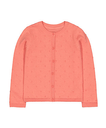 Mothercare Coral Popcorn Cardigan