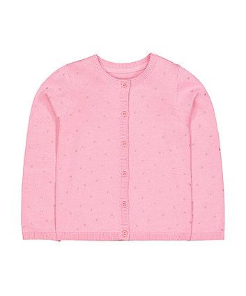 Mothercare Pink Knit Glitter Stars Cardigan