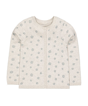 Mothercare Grey Glitter Pinspot Knit Cardigan