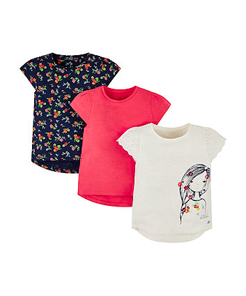Mothercare Girl, Pink And Floral T-Shirts - 3 Pack