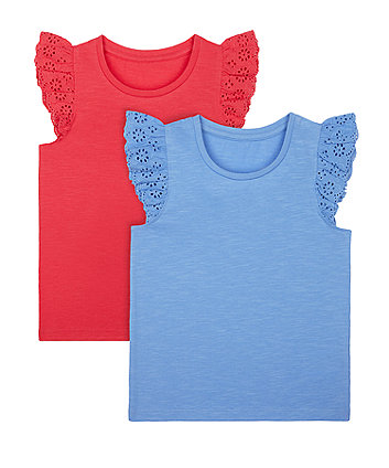 Mothercare Broderie Vest T-Shirts - 2 Pack