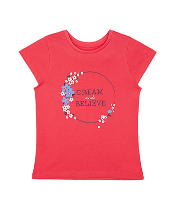 Mothercare Pink Floral Dream And Believe T-Shirt
