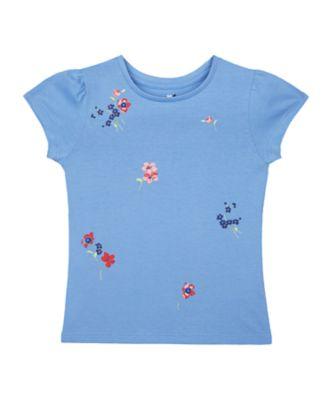 Mothercare Flower Market Flowers Blue Short Sleeve T-Shirt