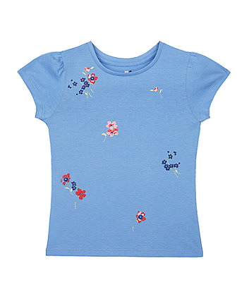 Mothercare Blue Puff-Print Flowers T-Shirt