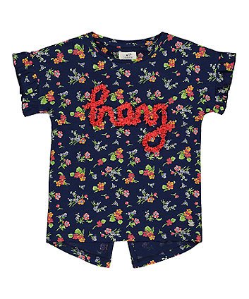 Mothercare Navy Floral Hey T-Shirt